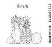 pineapple whole and slices... | Shutterstock .eps vector #1210397923