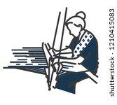 woman hand weaving illustrate.... | Shutterstock .eps vector #1210415083
