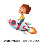 happy boy playing and imagine... | Shutterstock .eps vector #1210419256