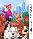 Stock photo illustration of dog walker 121043866