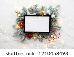 christmas holiday frame... | Shutterstock . vector #1210458493