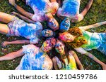 group of happy friends playing... | Shutterstock . vector #1210459786