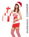 happy santa woman with gift... | Shutterstock . vector #121046569