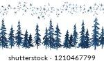 Watercolor Indigo Blue Pine...