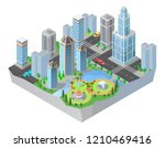 3d isometric city  downtown... | Shutterstock . vector #1210469416