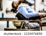 straight razor  barbershop ...   Shutterstock . vector #1210476850