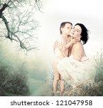 beautiful young woman hugging...   Shutterstock . vector #121047958