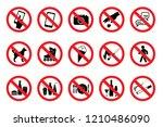 set prohibition signs.  red... | Shutterstock .eps vector #1210486090