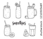 set of hand drawn smoothies in... | Shutterstock .eps vector #1210505689
