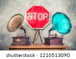 antique gramophone phonograph... | Shutterstock . vector #1210513090