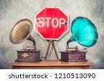 antique gramophone phonograph... | Shutterstock . vector #1210513090