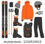 ski equipment kit clothes... | Shutterstock .eps vector #1210515013