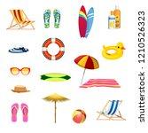 summer beach elements set | Shutterstock .eps vector #1210526323
