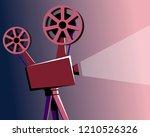 vintage movie projector | Shutterstock .eps vector #1210526326