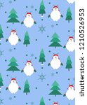 seamless pattern with snowman... | Shutterstock .eps vector #1210526953