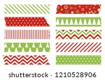 christmas washi tapes vector... | Shutterstock .eps vector #1210528906