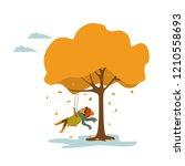 cute little girl swings on a... | Shutterstock .eps vector #1210558693