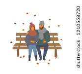 man and woman  couple on a date ... | Shutterstock .eps vector #1210558720