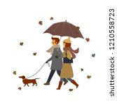 couple  man and woman walking... | Shutterstock .eps vector #1210558723