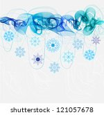 New year abstract background with wave and snowflakes - stock photo