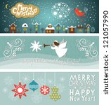 set of christmas and new year's ... | Shutterstock .eps vector #121057990