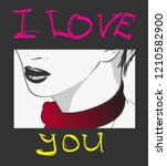 i love you. vector illustration.... | Shutterstock .eps vector #1210582900