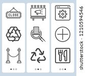 simple set of  9 outline icons... | Shutterstock .eps vector #1210594546