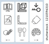 simple set of  9 outline icons... | Shutterstock .eps vector #1210596310