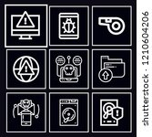 pack of 9 security outline mono ... | Shutterstock .eps vector #1210604206