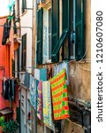 drying clothes outside ... | Shutterstock . vector #1210607080
