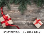 old wood background with fir... | Shutterstock . vector #1210611319