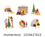 christmas scenes  etudes ... | Shutterstock .eps vector #1210617613