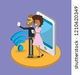 search engine cartoon | Shutterstock .eps vector #1210620349