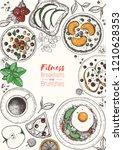 breakfasts top view frame.... | Shutterstock .eps vector #1210628353