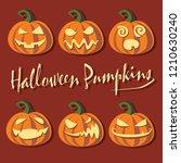 halloween pumpkins vector... | Shutterstock .eps vector #1210630240