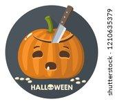 vector halloween pumpkin icon.... | Shutterstock .eps vector #1210635379