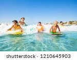 happy friends swimming in the... | Shutterstock . vector #1210645903