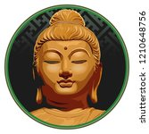 vector buddha face isolated on... | Shutterstock .eps vector #1210648756