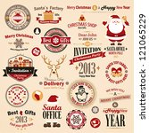 christmas set   labels  emblems ... | Shutterstock .eps vector #121065229
