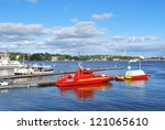 stockholm. boats pier in the...   Shutterstock . vector #121065610