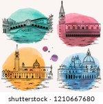 venice watercolor landmarks and ... | Shutterstock .eps vector #1210667680