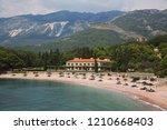 view on milocer beach  milocer... | Shutterstock . vector #1210668403