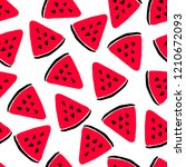 watermelon slice seamless...   Shutterstock .eps vector #1210672093