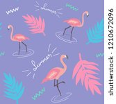 flamingo seamless pattern.... | Shutterstock .eps vector #1210672096