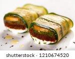 Stock photo vegan zucchini lasagna rolls 1210674520