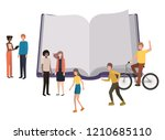 open book with group of people... | Shutterstock .eps vector #1210685110