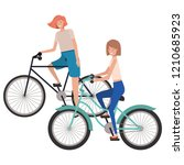 young women with bicycle avatar ... | Shutterstock .eps vector #1210685923