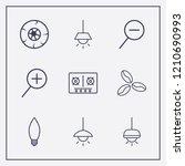 outline 9 dark icon set. lamp ... | Shutterstock .eps vector #1210690993