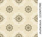seamless vintage ship wheel... | Shutterstock .eps vector #1210691980
