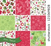 set of christmas seamless... | Shutterstock .eps vector #121069828